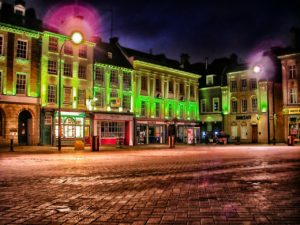 image of Northampton town centre at night